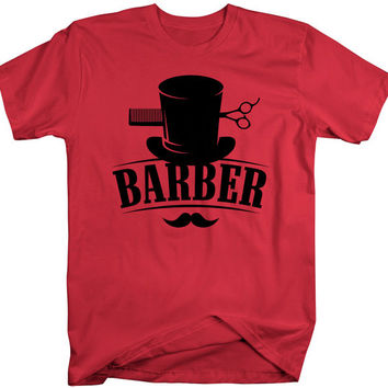 Barber T-Shirt Top Hat Vintage Hipster Mustache Barbers Shirts