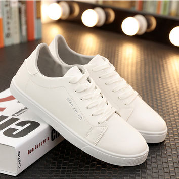 Men shoes 2017 new fashion solid black and white shoes lace-Up summer light adult casual shoes man big size 6- 10.5 zapatos