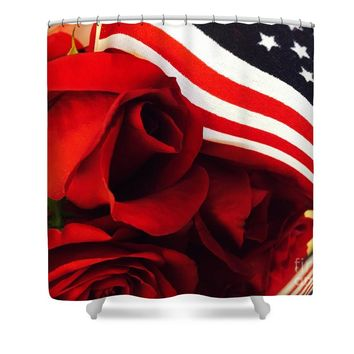 American Red Roses Shower Curtain