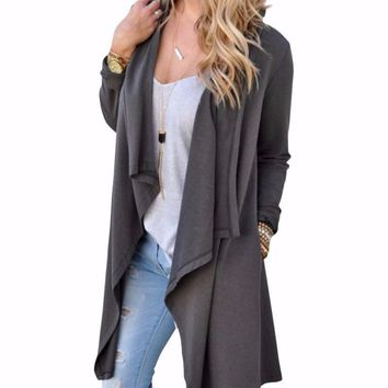 Women's Gray Long Duster Cardigan Sweater Jacket
