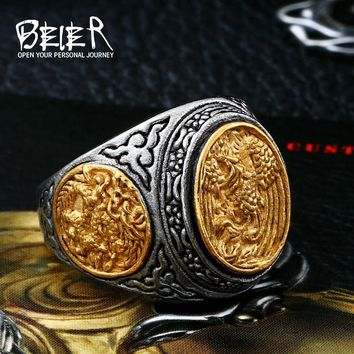 Beier new store 316L Stainless Steel phoenix ring with gold colour good detail carving jewelry for man women LLBR8-470R