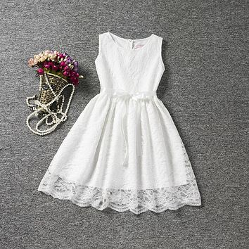 Vintage Lace Flower Girl Wedding Party Dress Fancy Infant Princess Costume for Kids Clothes Little Girl Baby Child Holiday Dress