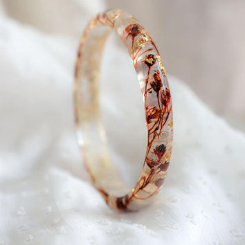 Brown Golden Flakes Small Gentle stacking Bangle Real tiny flowers bracelet Gift for her Boho jewelry Field flowers Encasted Nature Romantic