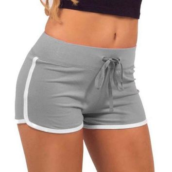Esportes Fast Drying Drawstring Women Shorts Casual Anti Emptied Cotton Contrast Elastic Waist Correndo Short Pants