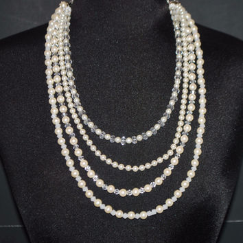 Cream Glass Pearls Crystal Elegant Multi Strands  Necklace