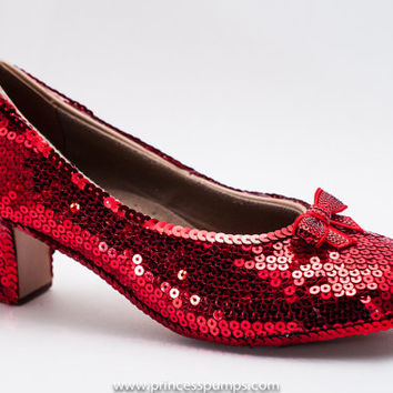 Princess Pumps Red Sequin 2 Inch French Scroop Heels