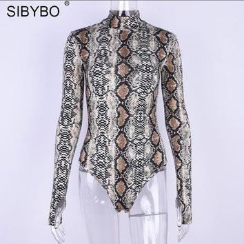 Sibybo Autumn Snake Pattern Print Bodysuit Women Romper 2017 Casual Lady Long Sleeve One Piece Jumpsuit Women Playsuit Overalls