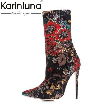 KarinLuna Women's Floral Print Thin High Heels Pointed Toe Party Wedding Shoes Woman Autumn Spring Ankle Boots Big Size 33-43