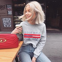 Women Loose Casual Print Letter Long Sleeve Pullover Sweater Short Tops