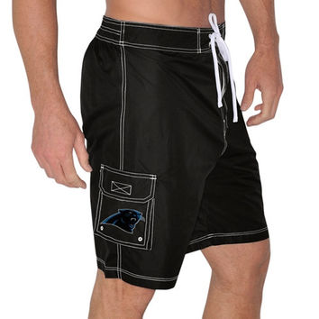 Mens Carolina Panthers Black Upper Deck Swim Trunks