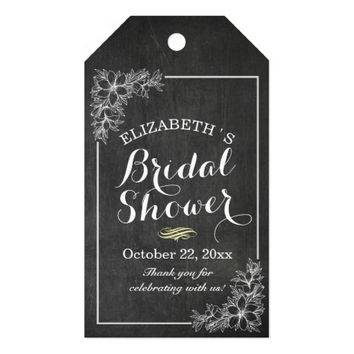 Elegant Chalkboard Floral Bridal Shower Thank You Gift Tags
