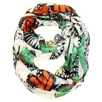 Monarch Butterfly White Infinity Scarf