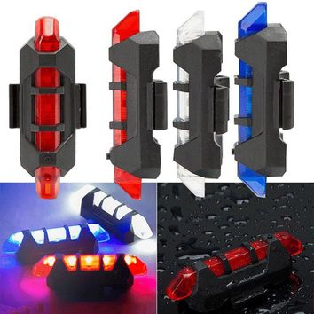 2018 New Cycling 5 LED USB Rechargeable Bike Bicycle Tail Warning Light Rear Safety