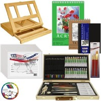 "US Art Supply® 68-Piece Custom Artist Acrylic Painting Set with, Wood Drawer Table Easel, 24-Tubes Acrylic Colors, 12 Colored Pencils, 2 Graphite Pencils, 9""x12"" Painting Paper Pad, 6-each 8""x10"" Canvas Panels, 100-Sheet Sketch Pad, 80-Page Hardbound Sketc"