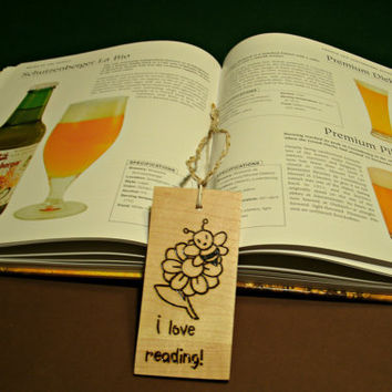 Maple Bee Bookmark - Upcycled Wood Bookmark - Hardwood Bookmark Burnt with I Love Reading - Ready To Ship