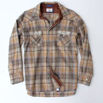 Vintage Pendleton Crystal Pocket and Keyhole Back Flannel Shirt