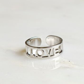 Cut Out Love Ring Silver