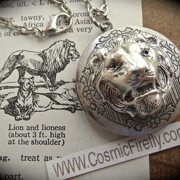 Silver Lion Necklace Lion Locket Necklace Antiqued Silver Locket Round Locket Vintage Inspired Jewelry Leo Lion Jewelry Women's Locket New