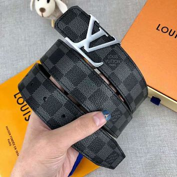 LV Louis Vuitton Fashion Women Men Smooth Buckle Tartan Belt Leather Belt