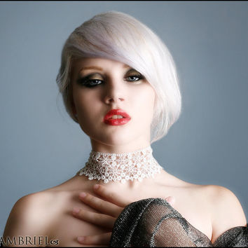 Ethereal Arachne Choker by Kambriel - Vintage English White Spiderweb Lace