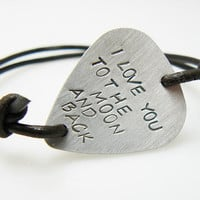 Hand Stamped Guitar Pick Bracelet, I love you to the moon and back, custom BFF bracelet, gift for friend, sisters