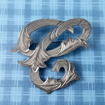 Vintage Letter C Initial C Monogram Mexico Sterling RM Silver Pin Brooch Stylized Script Font Fancy Etched Metal Cool Hand Crafted Signed