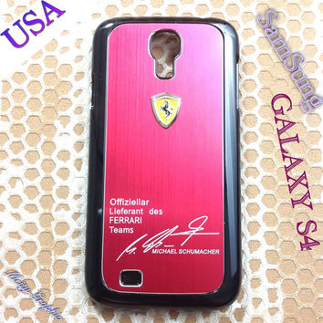 Ferrari Samsung Galaxy S4 Case Ferrari 3D metal Logo Premium Cover for S4 / i9500 - Red