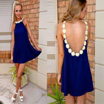 Sexy Backless Flower Strap Collar Casual Party Dress Women Sleeveless Vestidos Mini Dress = 1946013188