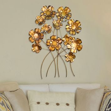 Stratton Home Decor Metallic Mod Flowers Wall Decor (Yellow)