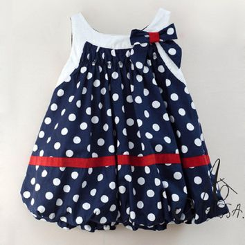 2017 Cute Baby Dresses Baby Girls Clothing Princess Lantern Girls Dress Party Wedding Costumes Polka Dots Bow Baby Girl Clothes