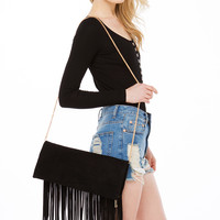 Audrey Fringe Black Clutch Bag