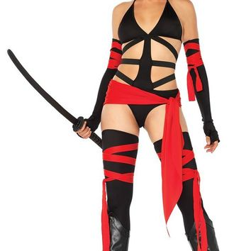 Ready To Kill Black Red Sleeveless Spaghetti Strap V Neck Cut Out Bodysuit Halloween Costume