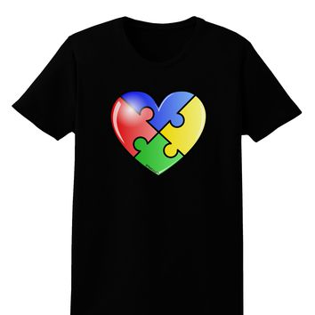 Big Puzzle Heart - Autism Awareness Womens Dark T-Shirt by TooLoud