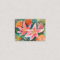 Small Watercolor Print Mixed Flowers - Lilies and Roses 5x7 inches