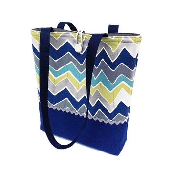 Blue handbag, Grey hand bag, Chevron stripe tote, Shoulder bag blue, Shoulder purse gray, Knitting project bag, Yarn tote bag