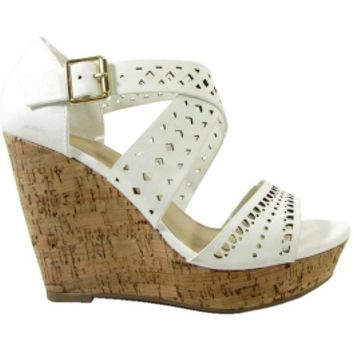 Detailed Cut Out Wedge, White