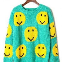 Green Sweater with Contrast Yellow Smile Pattern