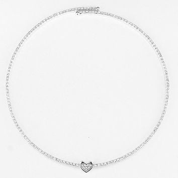Heart Pave Choker Necklace