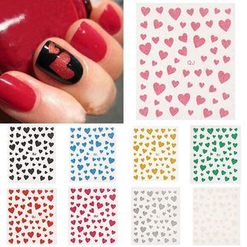 3D Glitter Hearts Decal Stickers Nail Art Stamping Plate