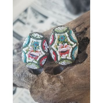 FAB Ceramiche signed Italian micro mosaic tiled rose screw back vintage earrings made in Italy