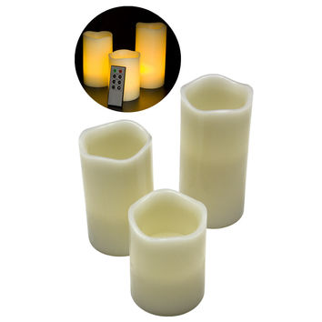 """New Battery Operated Flame less LED Candles with Remote (1) 4"""" (1) 5"""" (1) 6"""""""