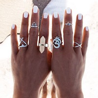 6 Pc Vintage Silver Plated/Natural Quartz Ring Set