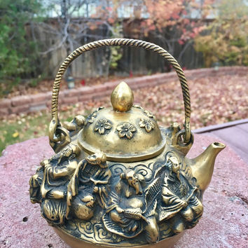 Antique Teapot with The Eight Daoist Immortals