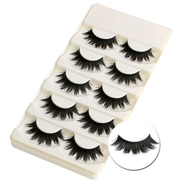 5 Pairs Soft Long Makeup Cross Thick False Eyelashes  Natural Handmade Eye Lashes Extension Make Up Beauty Tools