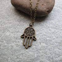Antique Bronze Necklace,Hamsa Hand Necklace , Friendship, Graduation Gift