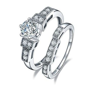 BONLAVIE Womens 125ct Cubic Zirconia Wedding Band Engagement Ring Bridal Set 925 Sterling Silver