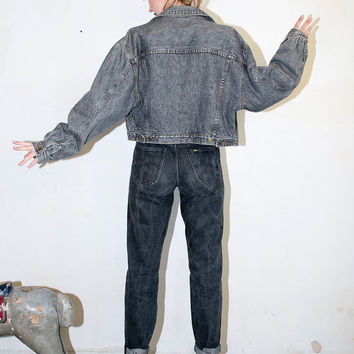 black acid wash original denim cropped jacket. grey jean cropped jacket. 1990s
