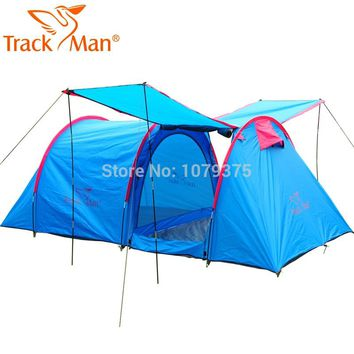 Trackman 5~8 Person Outdoor Camping Tent One Room One Hall Family Tent Gazebo Awnin Beach Tent Sun Shelter Family tent