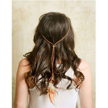 Boho Brown Suede Braided Leather Feather Colorful Wood Beaded Headband / Necklace