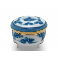 Vintage Victorian Antique Round Jewelry Box Delft Blue
